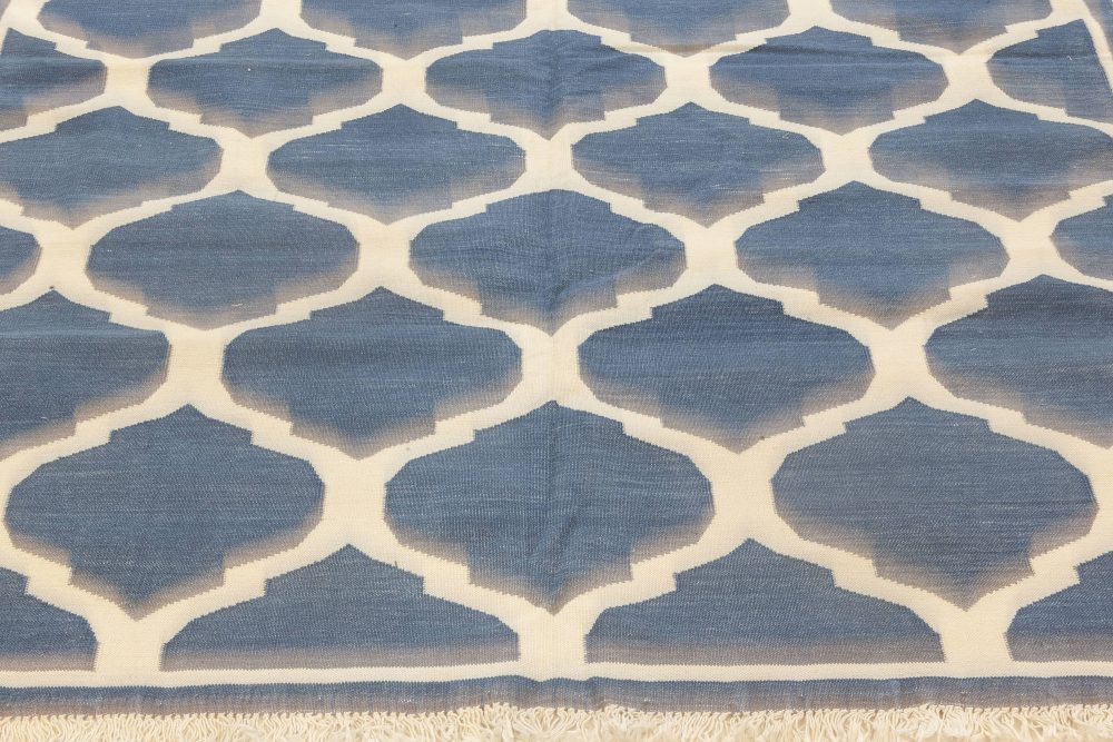 Indian Dhurrie Designed Blue and White Handwoven Cotton Rug N12006