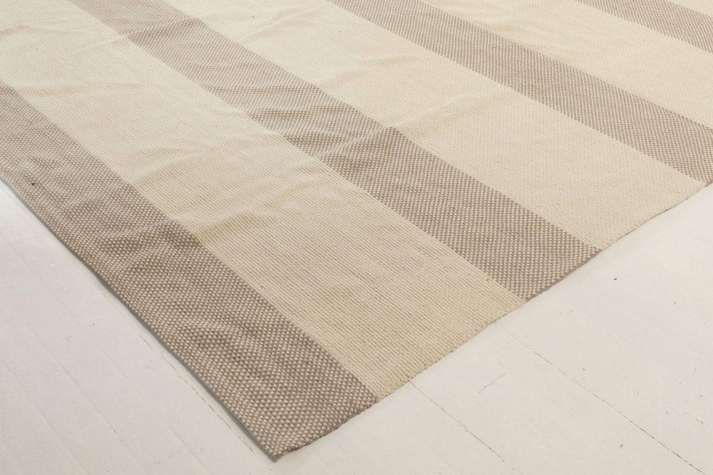 Oversized Modern Beige & Gray Flat Weave Wool Rug N12010