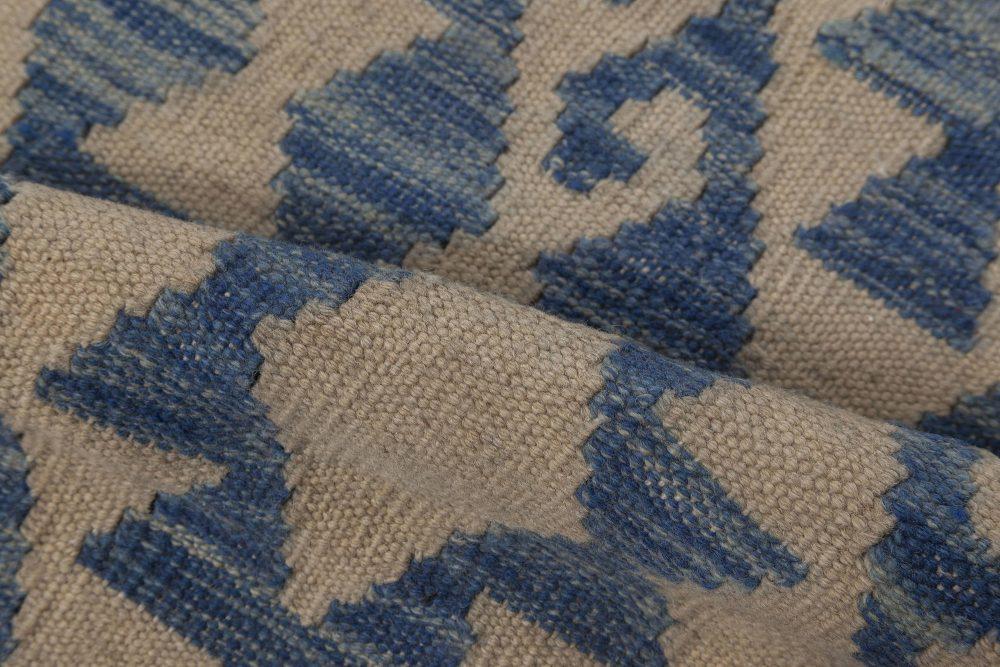 Modern Geometric Blue and Beige Flat-Woven Wool Rug N12009