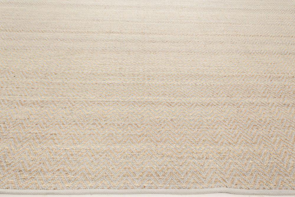 Modern Gold & Gray Flat Weave Wool Rug N11989