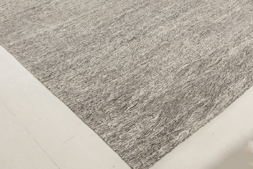 Contemporary Gray and White Flat-Weave Wool Rug N11990