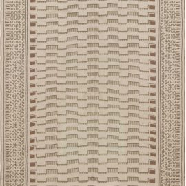 Needle Point Handmade Wool Rug by Arthur Dunnam in Beige, and Green N12005