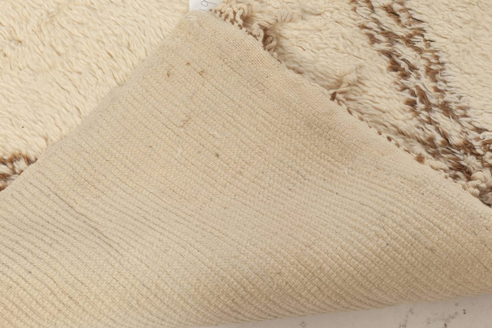 Modern Moroccan Beige and Brown Hand Knotted Wool Rug N11981