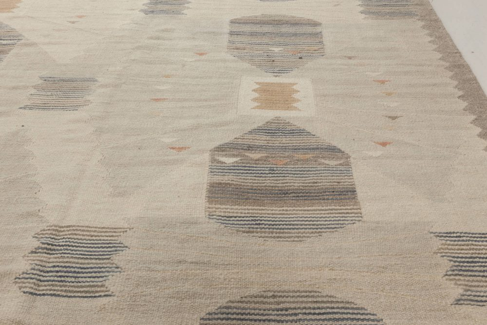 Modern Swedish Design Off-White, Brown and Light Gray Rug N11980