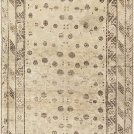 Samarkand Chocolate Brown and Beige Hand Knotted Wool Rug BB6976