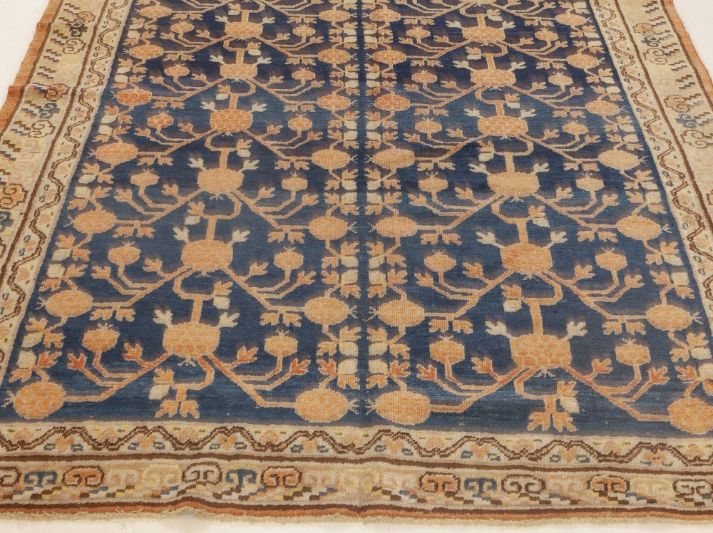 Samarkand Navy Blue, Red and Orange Hand Knotted Wool Rug BB6977
