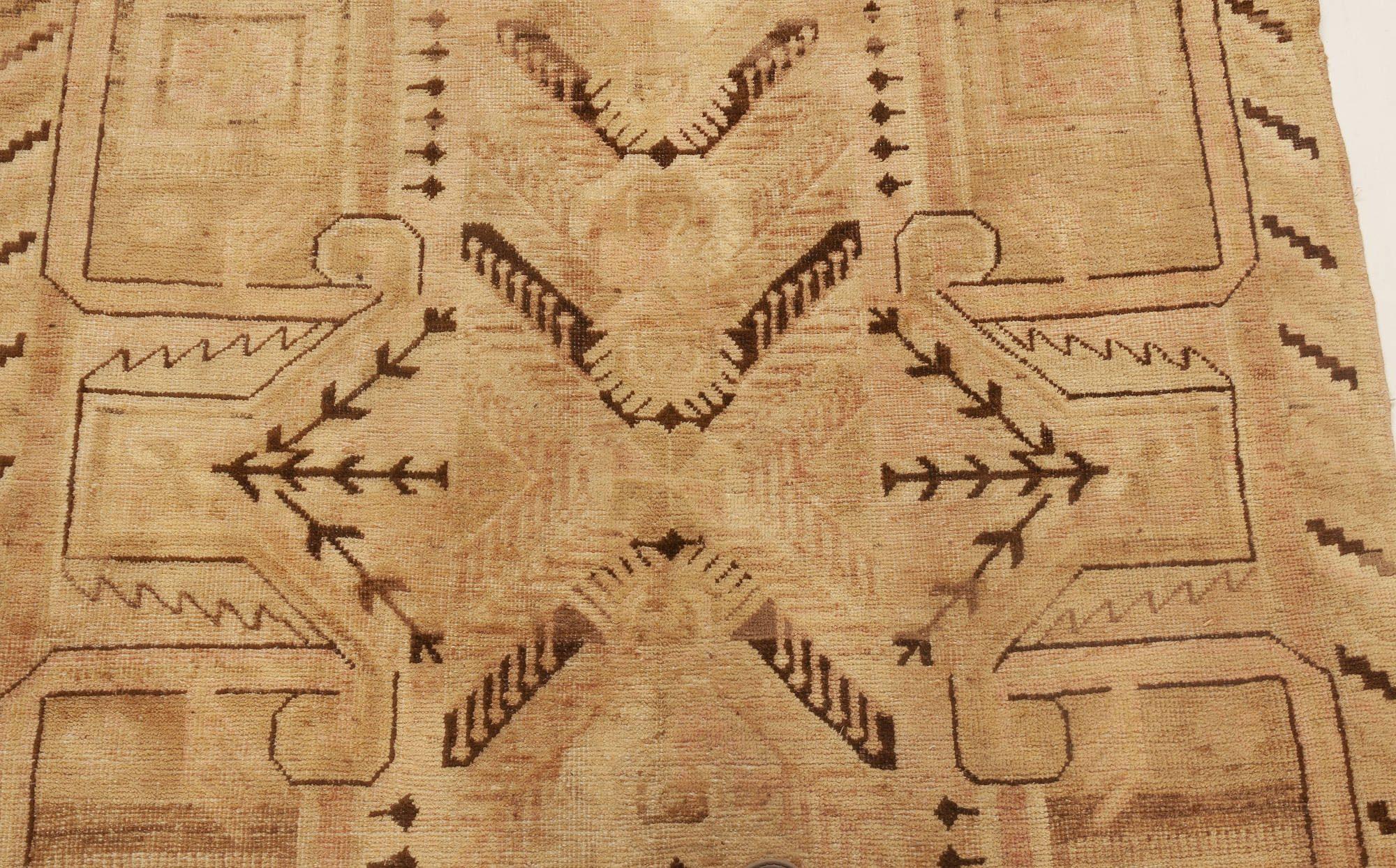 Midcentury Samarkand Beige & Brown Handwoven Wool Rug BB6973