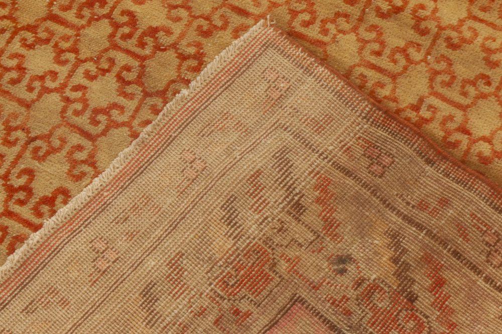 Samarkand Sandy Beige, Carmine Red & Brown Handwoven Wool Rug BB6978