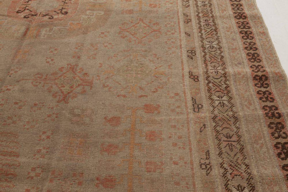 Midcentury Samarkand  Beige, Brown and Orange Wool Rug BB6969