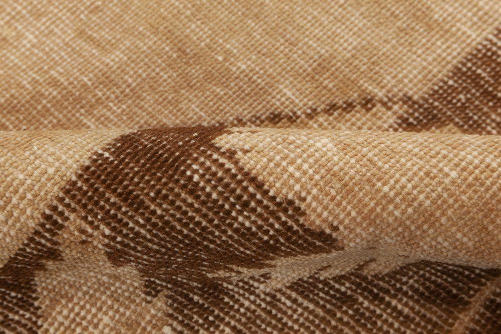 Midcentury Samarkand Beige & Brown Handwoven Wool Rug BB6979