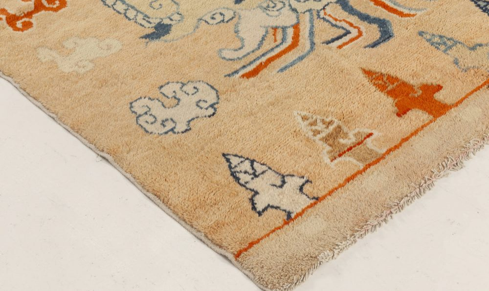 Early 20th Centurty Chinese Oriental Beige, Blue, Brown and Orange Rug BB7004