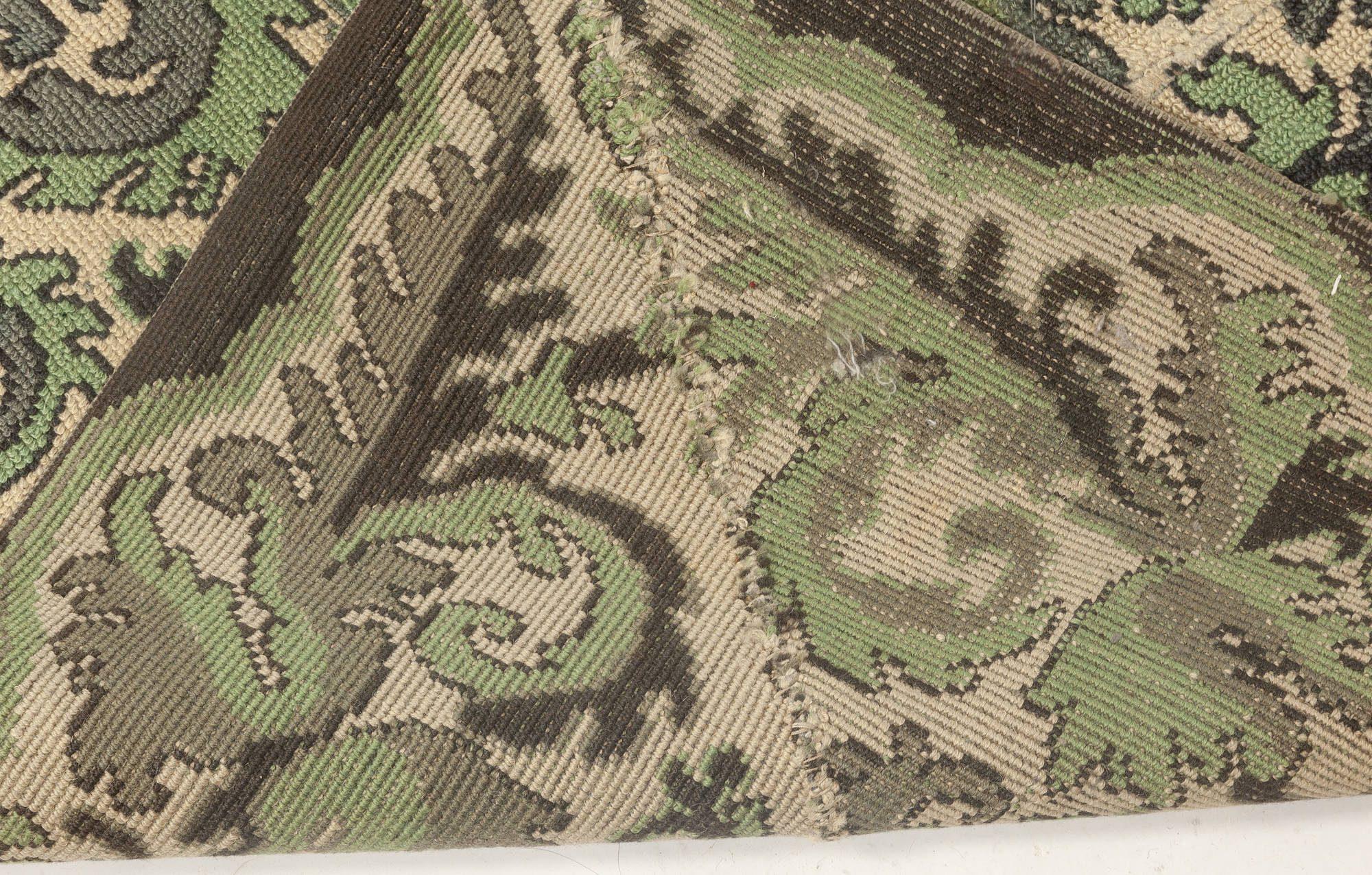 Antique Portuguese Needlepoint Rug (Size Adjusted) BB6942