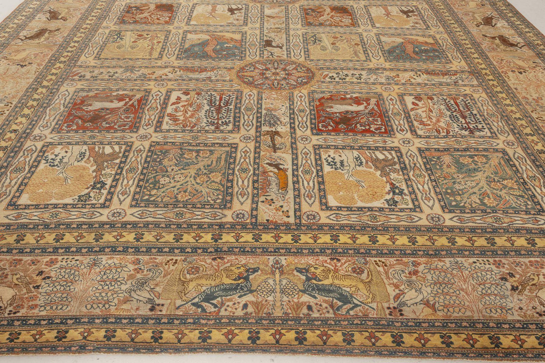 Antique Persian Tabriz Handwoven Wool Rug BB7012