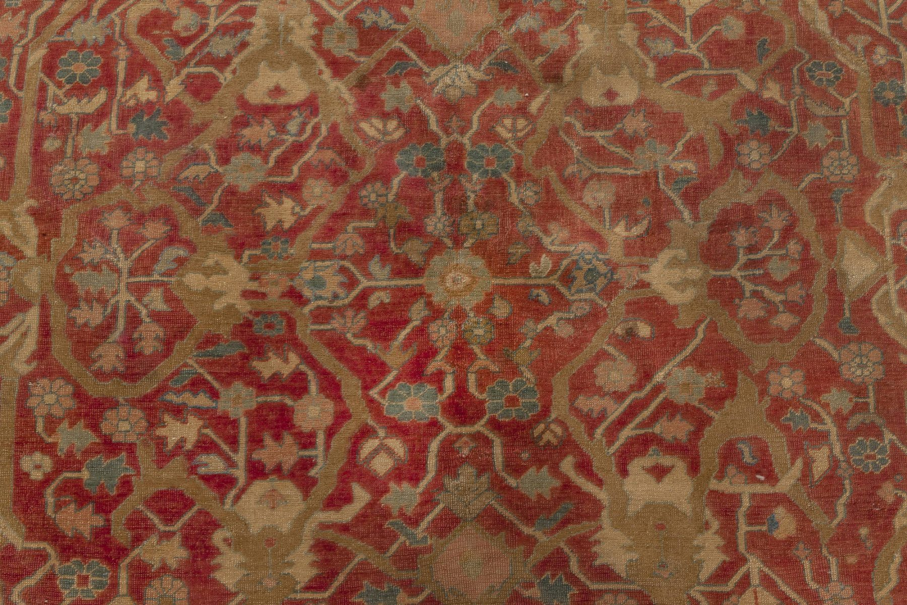 Antique Persian Serapi Deep Red, Brown, Blue and Beige Wool Rug BB7011