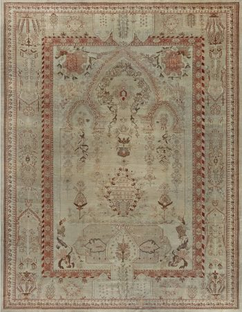 Antique Turkish Oushak Camel and Light Brown Handwoven Wool Rug BB7434