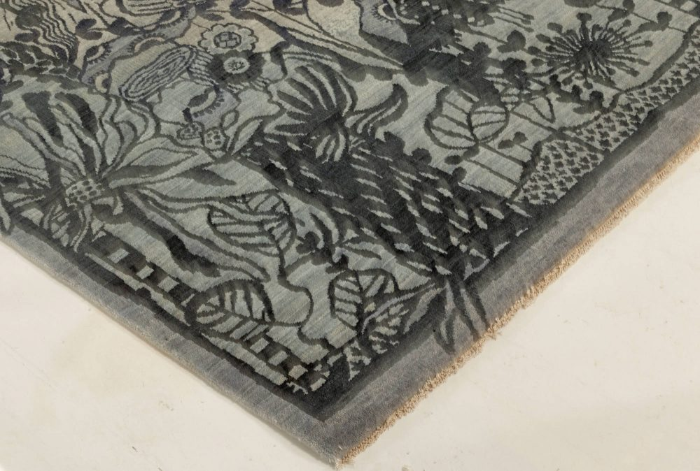 New Traditional Inspired Bold Design Blue and Gray Hand Knotted Rug N12021