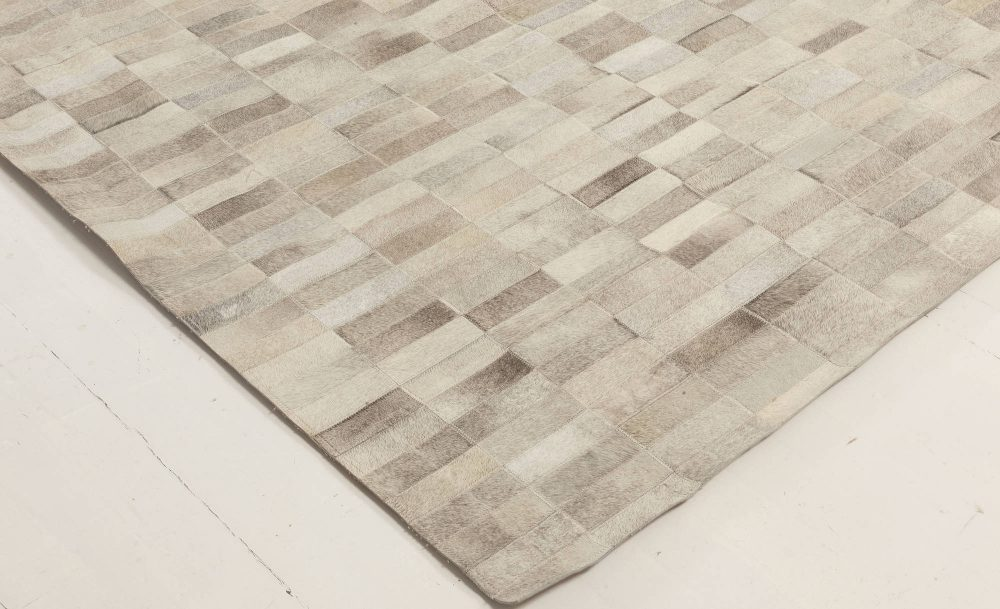 Contemporary Oversized Hair-on-hide Gray Rug N12014
