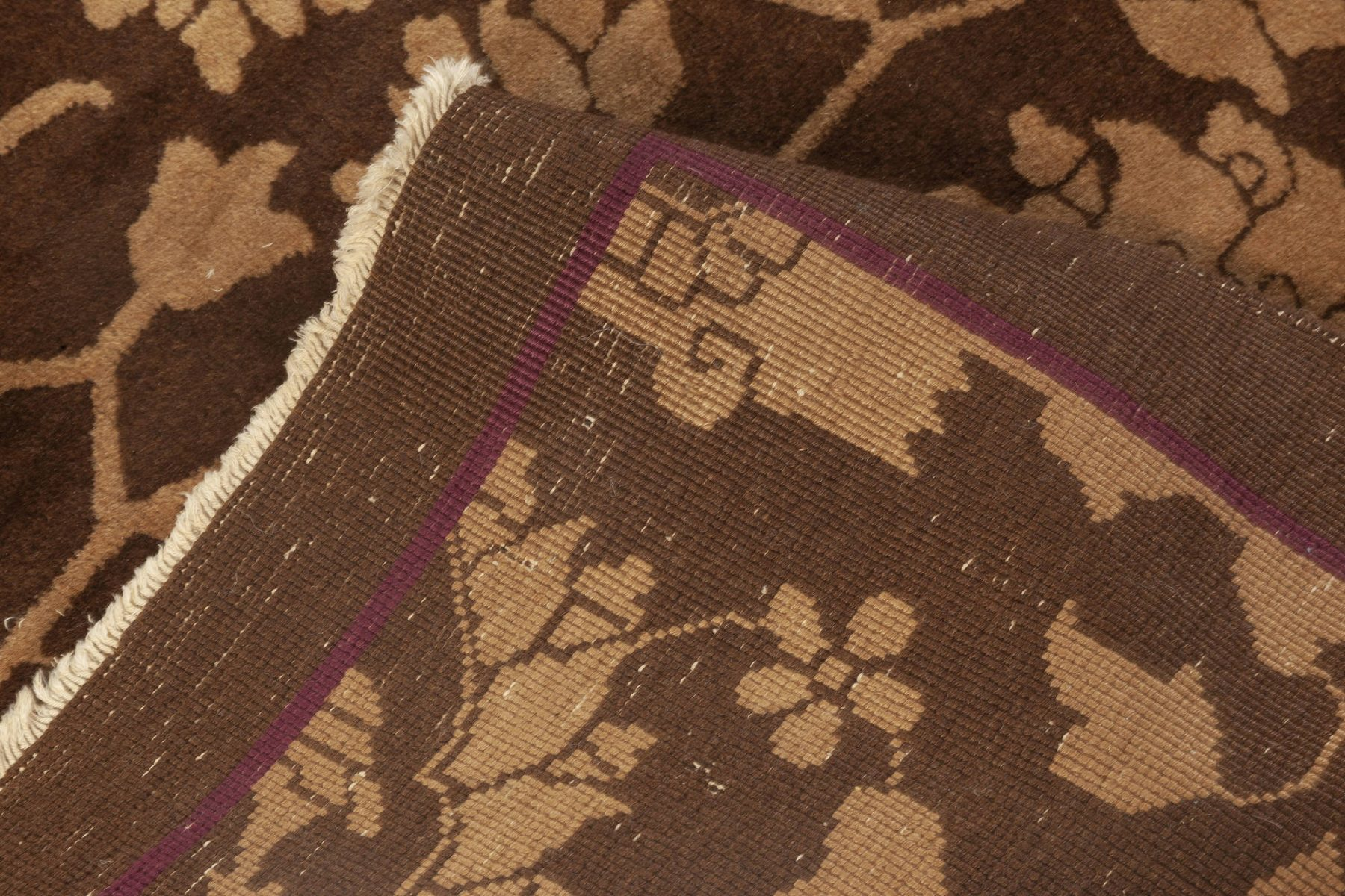 Midcentury Chinese Floral Brown and Beige Handwoven Wool Rug BB6945