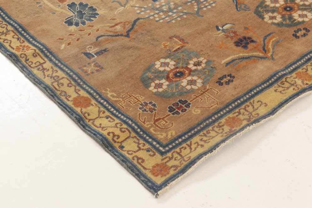 Midcentury Samarkand Brown and Blue Handwoven Wool Rug BB6970
