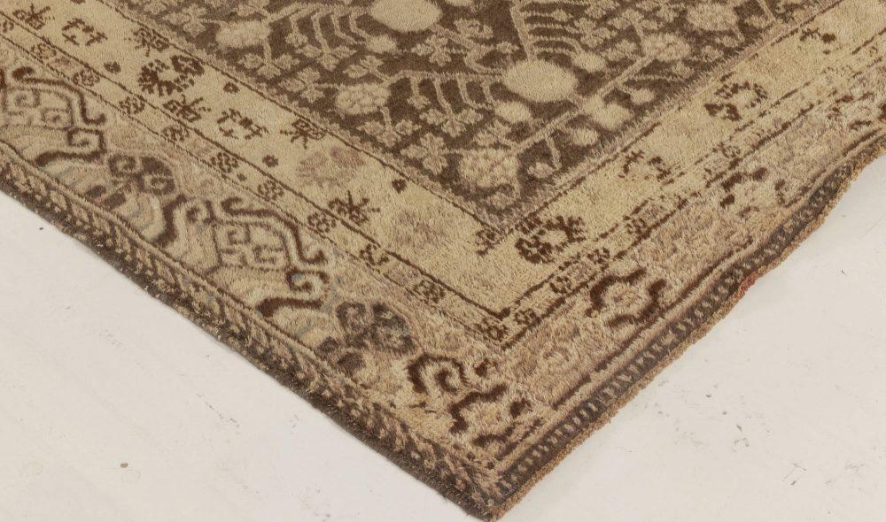 Midcentury Samarkand Beige & Brown Handwoven Wool Rug BB6996