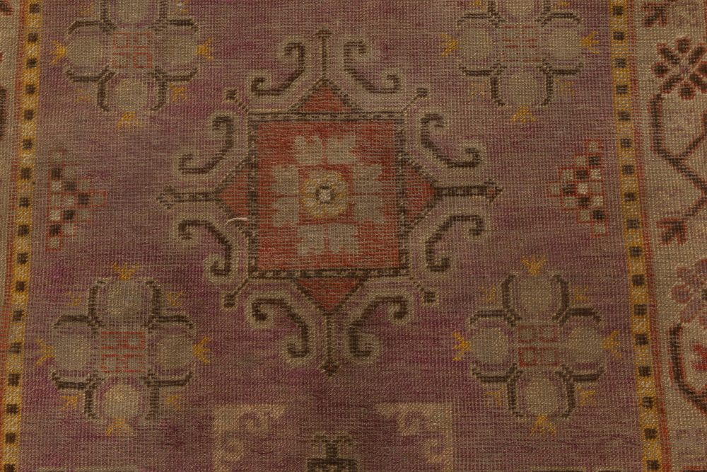 Midcentury Samarkand Purple and Brown Hand Knotted Wool Rug BB6997