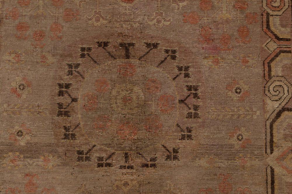 Samarkand Handmade Wool Rug in Beige, Brown, Orange and Purple BB7005