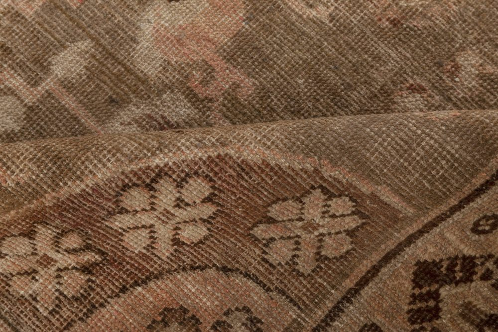 Samarkand Midcentury Brown and Beige Handwoven Wool Rug BB7010