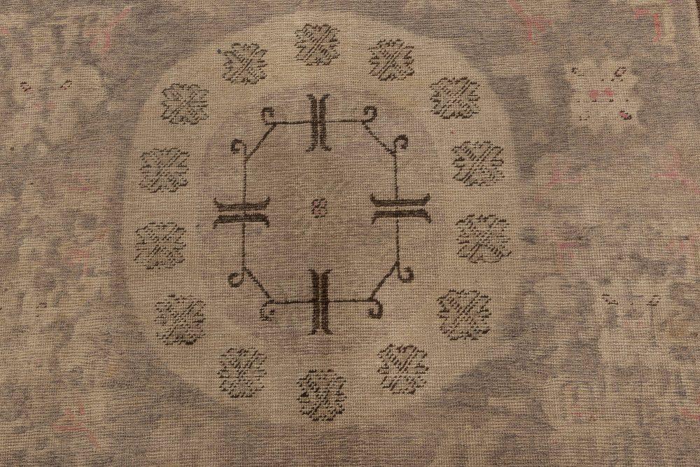 Midcentury Samarkand Beige, Brown, Pink and Purple Handwoven Wool Rug BB7009