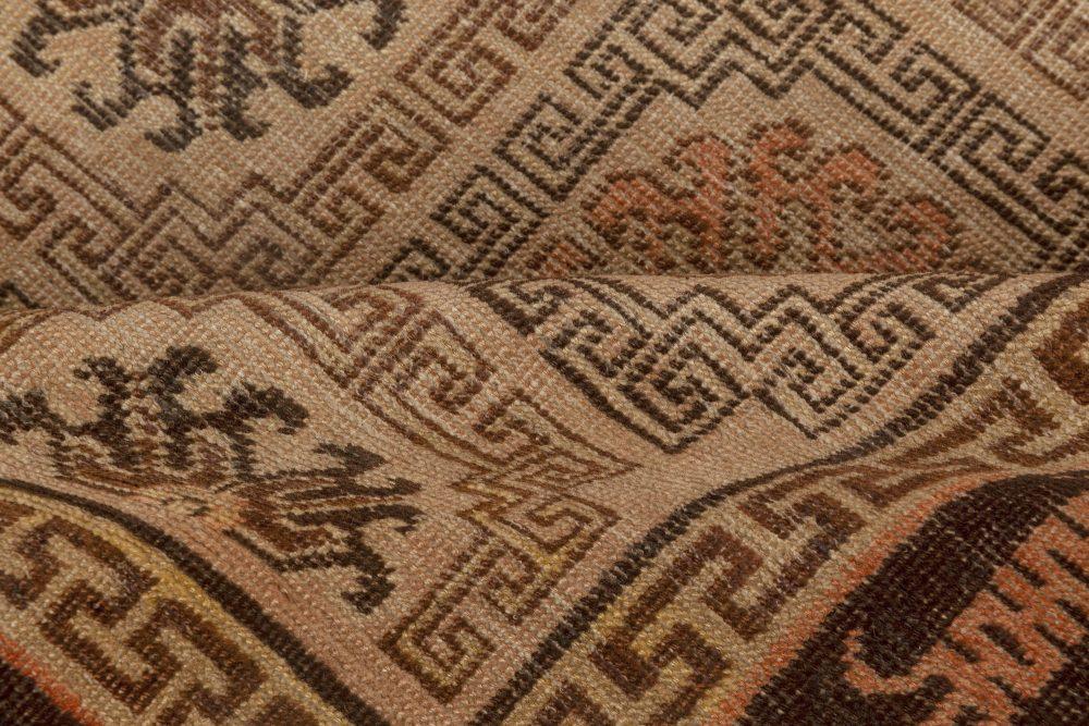 Samarkand Handmade Wool Rug in Beige, Brown and Orange BB7002