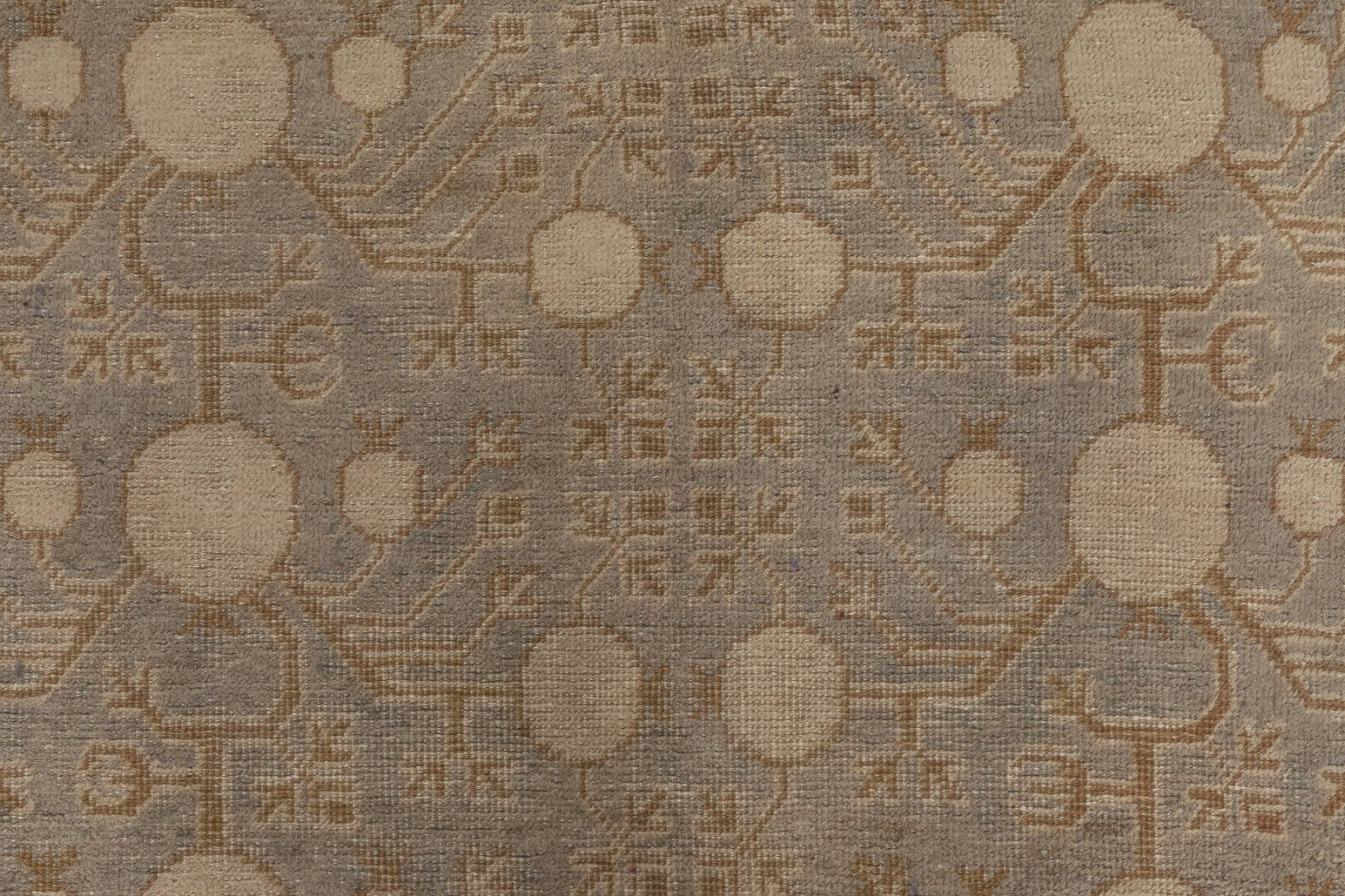 Midcentury Blue and Brown Samarkand Handwoven Wool Rug BB7008
