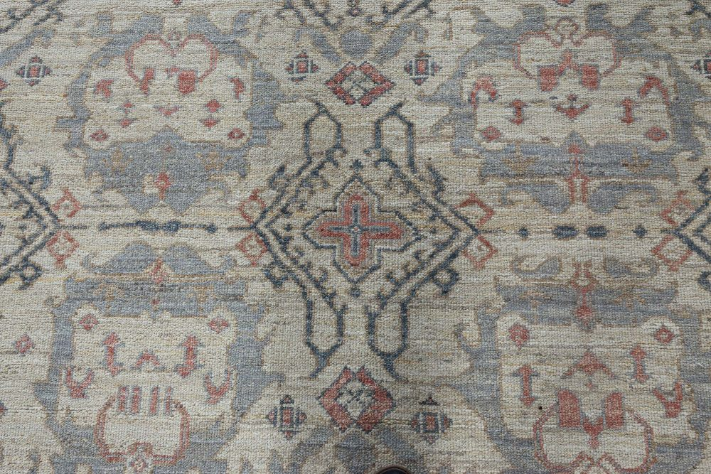 Modern Traditional Oushak Inspired Light Blue and Pink Wool Rug N12038