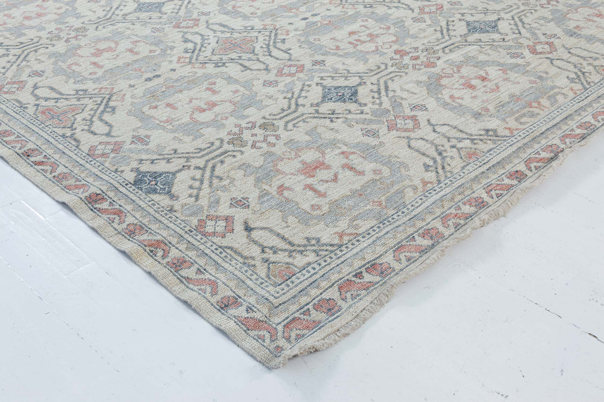 Modern Traditional Oushak Inspired Light Blue And Pink Wool Rug N12038 By Dlb