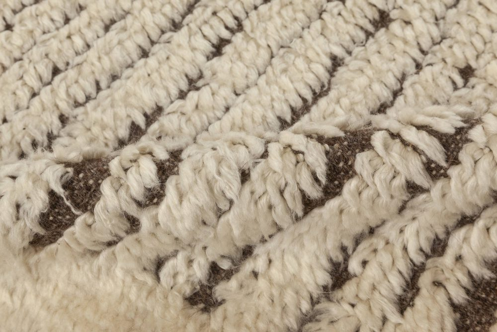 Tribal Style Moroccan Wool Rug with White Pile on Brown Background N12034