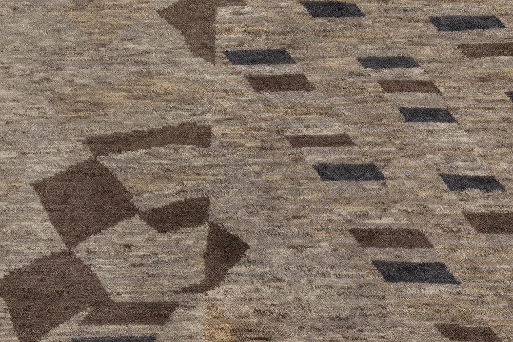 Modern Abstract Rug Beige, Blue & Brown Handwoven Wool Rug N12026