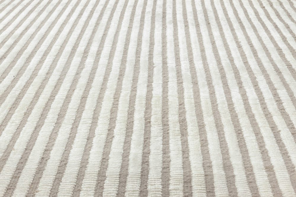 Modern Striped Light Brown and White Handwoven Wool Rug N12043