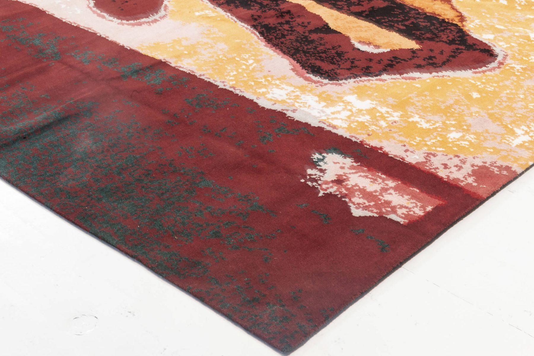 Art Moderne Orange, Pink, Red, White & Black Hand-knotted Wool Rug N12041