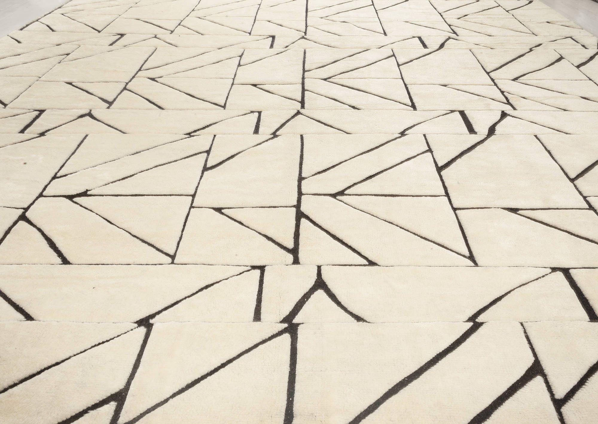 Geometric Dash Black and White Hand Knotted Wool Rug N12027