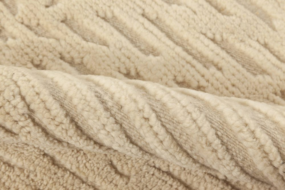 High Low Modern Beige Handmade Wool Rug N12028