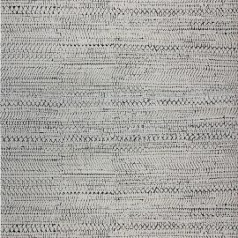 Contemporary Black and White Society Hand Knotted Wool Rug N12030