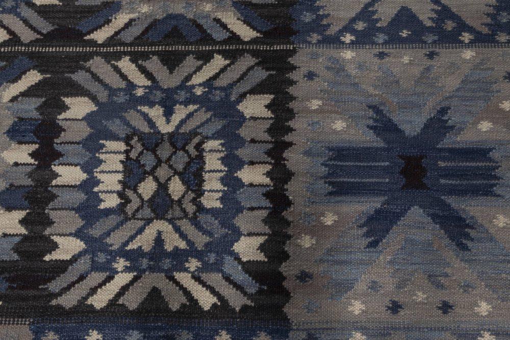 Modern Swedish Design Blue, White and Black Flat-Weave Rug N12029