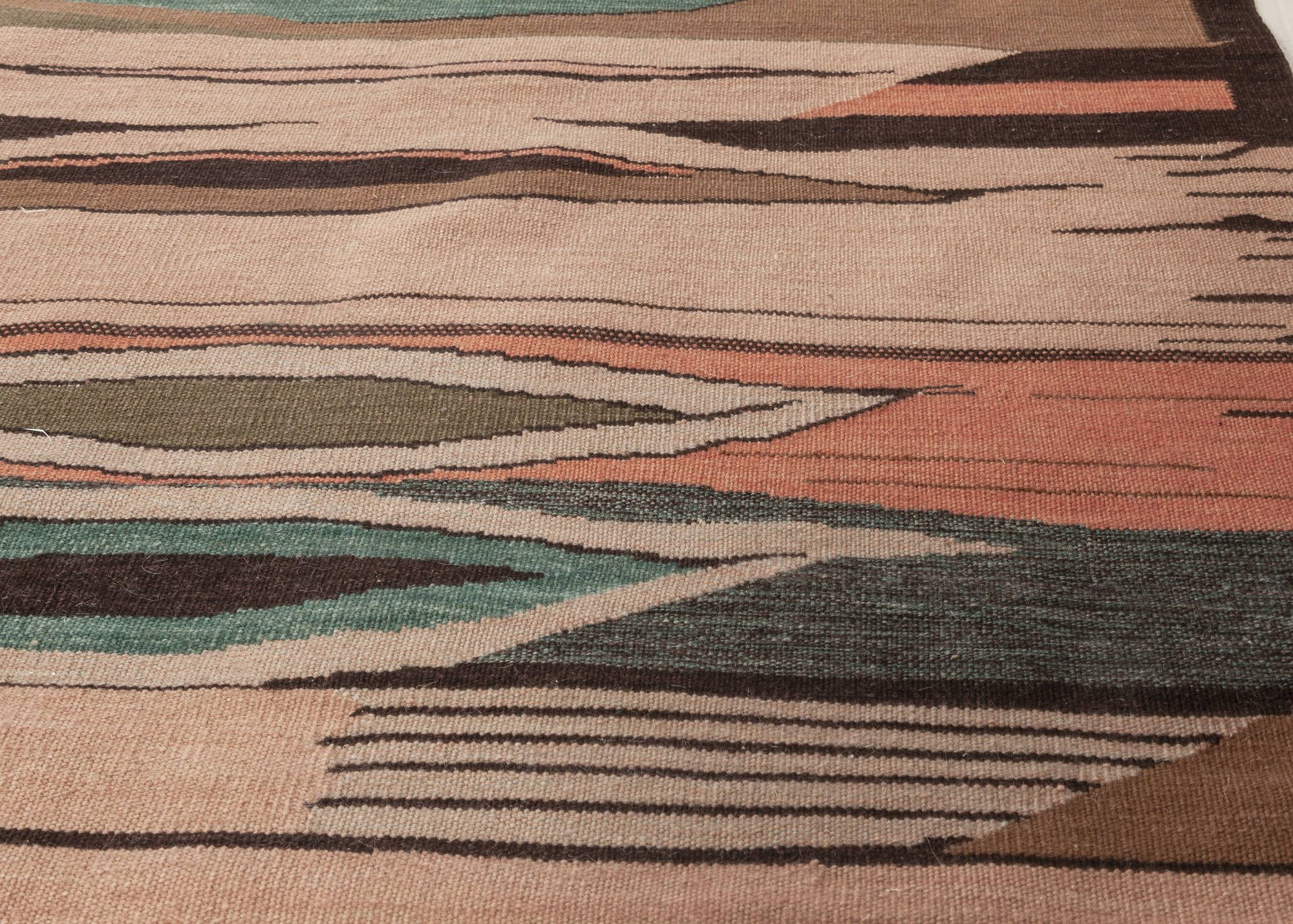 New Swedish Design Brown, Green and Pink Flat-Weave Wool Rug N12039