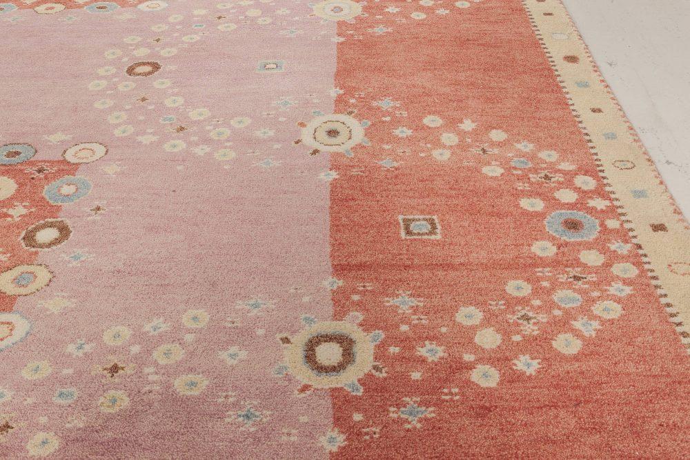 Contemporary Swedish Design Red, Pink & Beige Wool Rug N12032