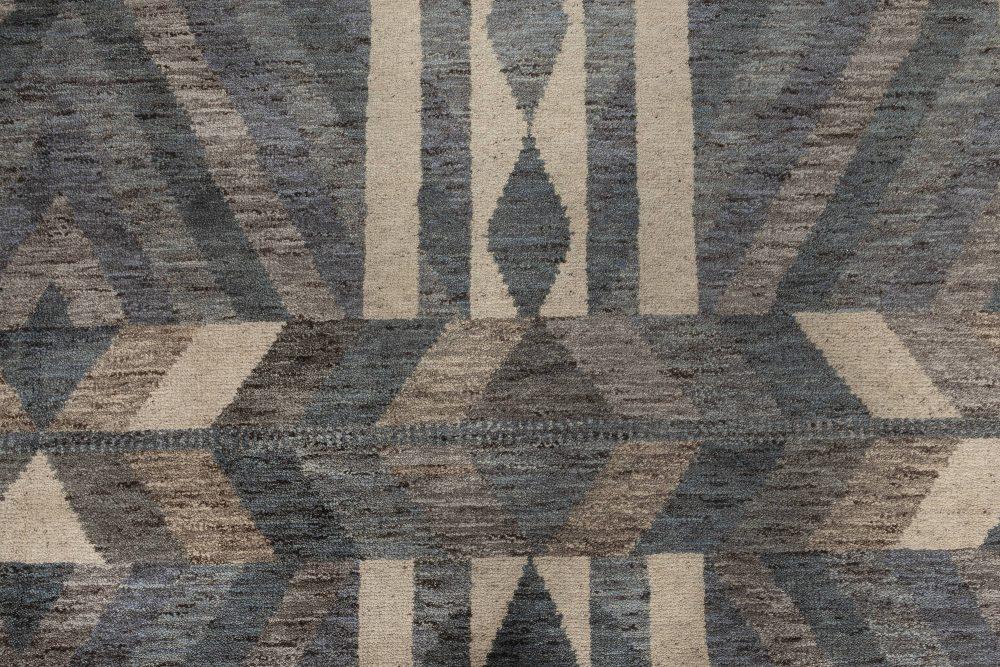 Modern Geometric Oversized Swedish Gray, Blue and white Pile Rug N12036