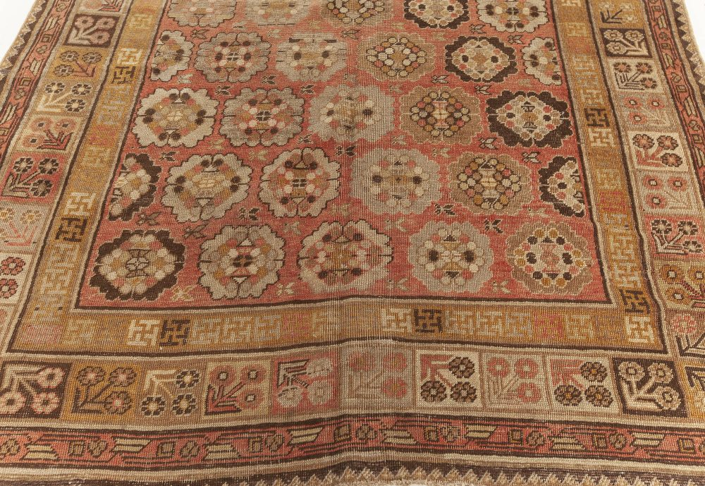 Samarkand Beige, Brown, Gold and Pink Hand Knotted Wool Rug BB7019