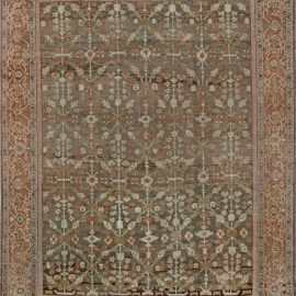 Persian Sultanabad Muted Beige, Brown, Green and Orange Wool Rug BB7016