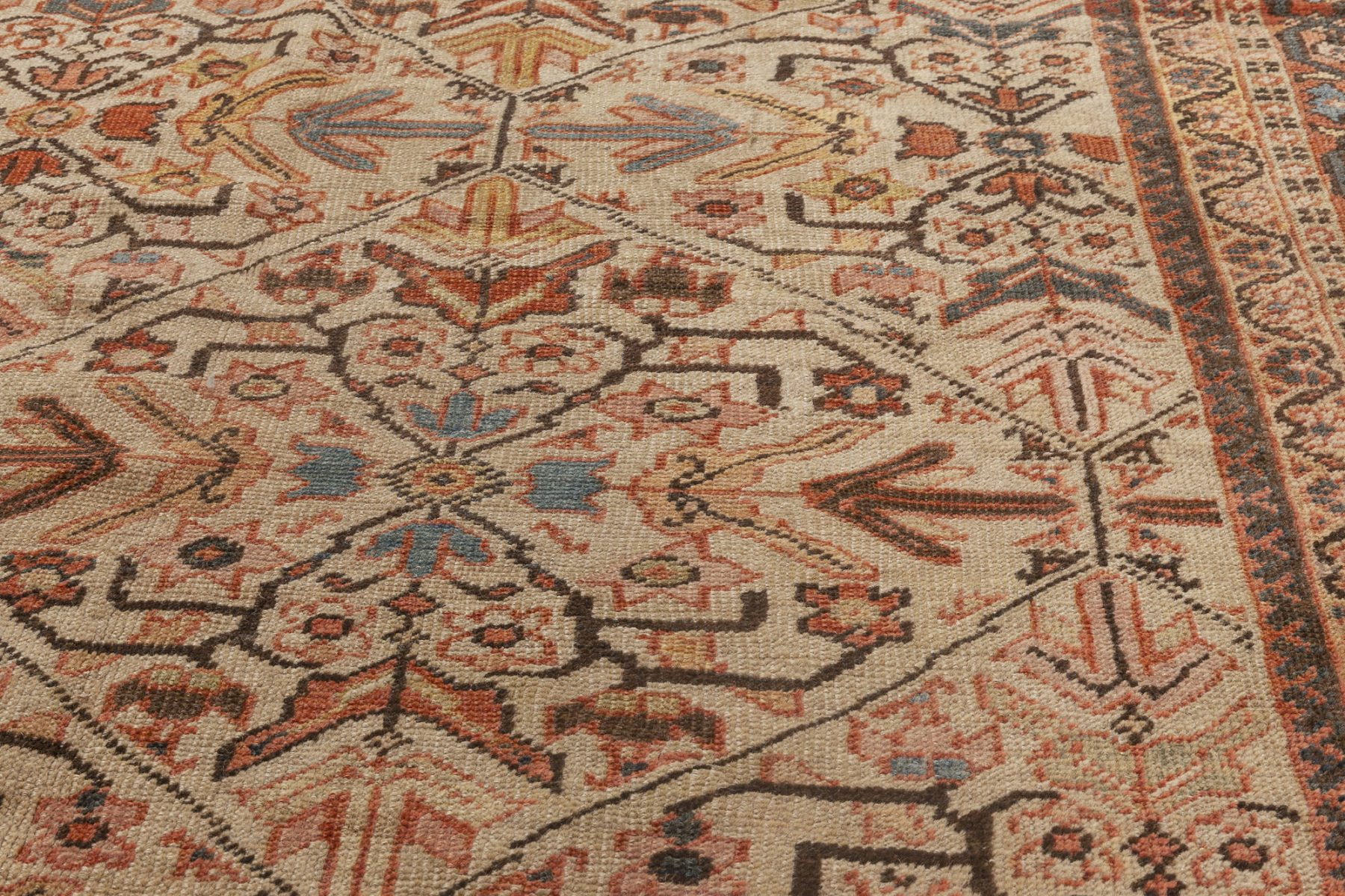 Antique Persian Sultanabad Beige, Blue, Brown and Orange Rug BB7028