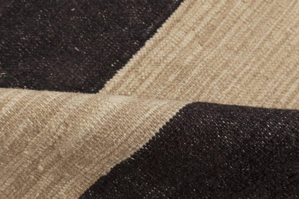 Contemporary Striped Beige and Black Kilim Flat-Weave Wool Rug N12052