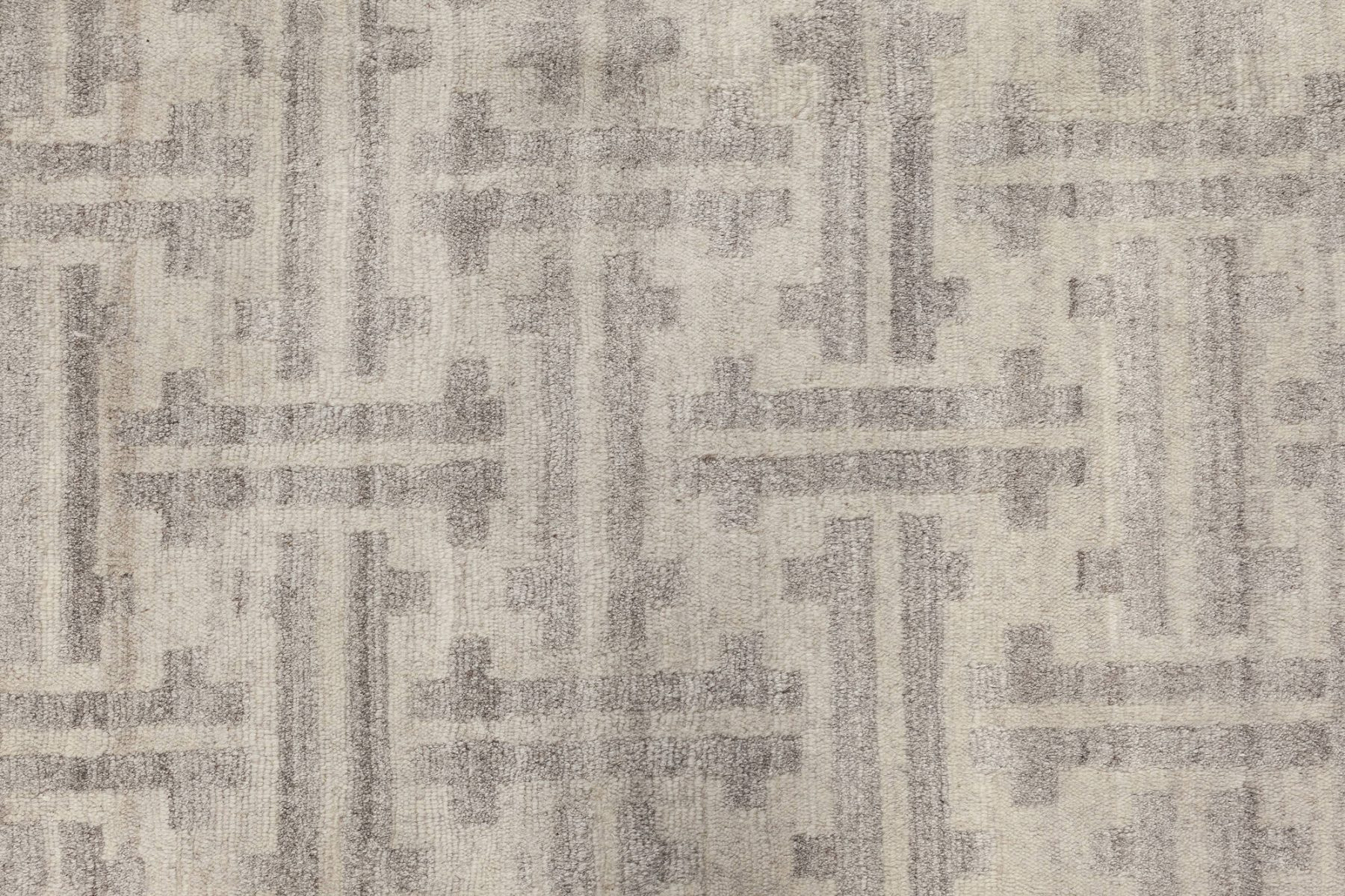 Contemporary White and Gray Terra Rug Hand Knotted in Natural Wool N12050