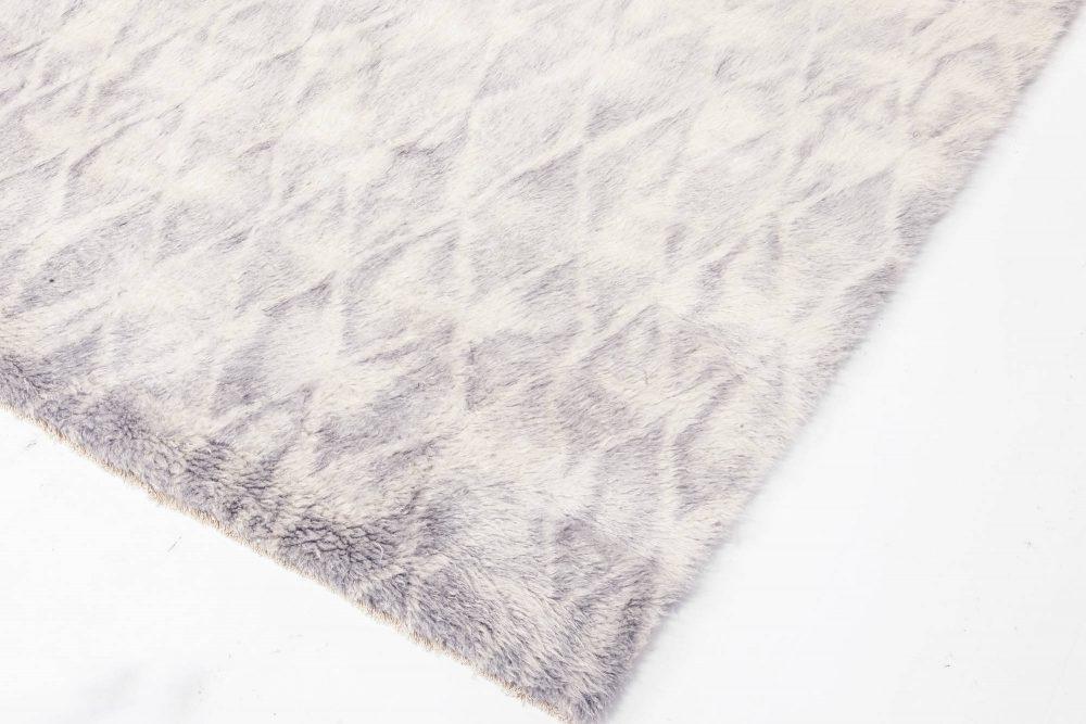 Modern Diamond-Like Shape Beige and Gray Hand Knotted Mohair Rug N12057