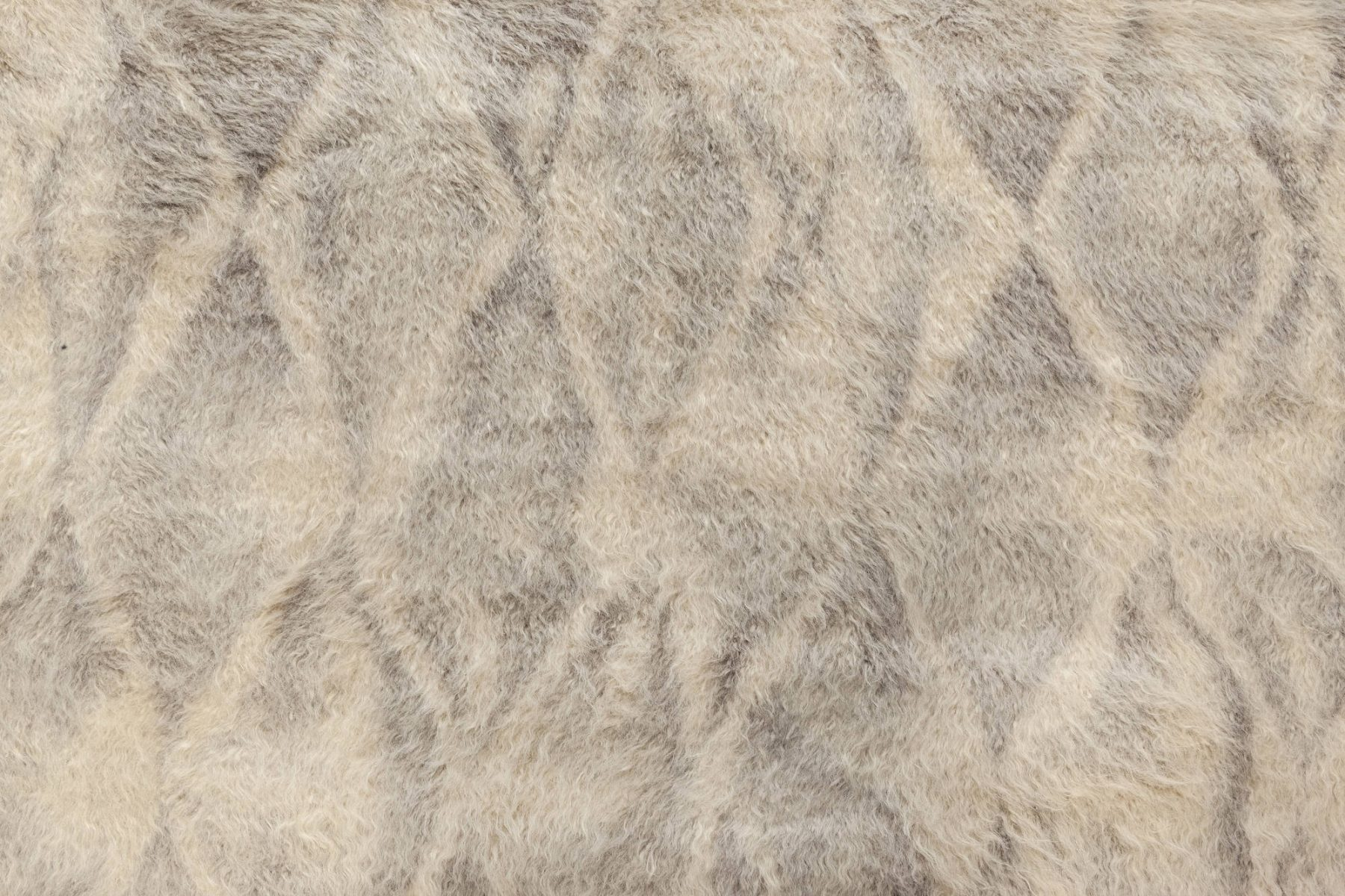 Modern Diamond-Like Shape Beige and Gray Hand Knotted Mohair Rug N12057